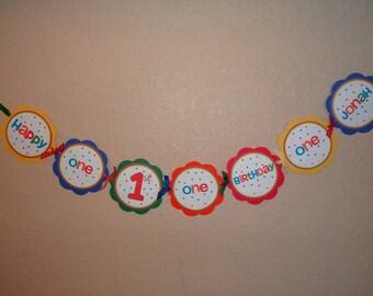 Primary Polka Dot Custom Word Banner