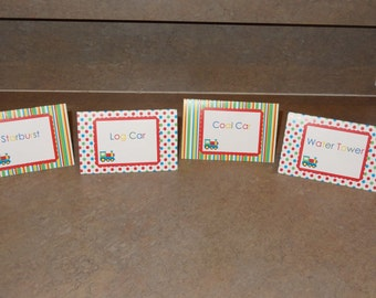 Choo Choo Train Food Tent Cards - Customized or Blank SET OF 12