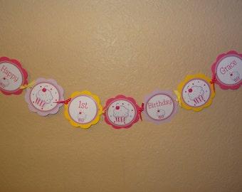 Adorable Cupcake Custom Word Banner