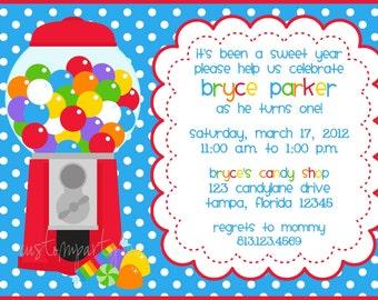 Bubble Gum Machine / Candy Shop Invitation - Set of 12