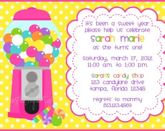 Bubble Gum Machine / Candy Shop Invitation for Girls- Set of 12