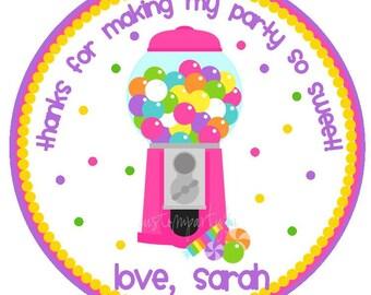 Bubble Gum Machine / Candy Shop Favor Tag for Girls- Set of 12