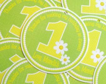 Daisy Custom Birthday Favor Tags - You Choose the Colors