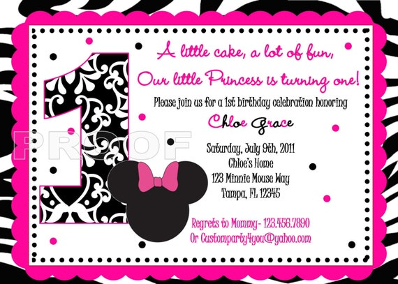 Pink and Black Zebra Minnie Mouse Inspired Custom Birthday