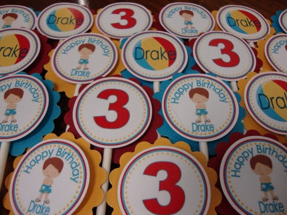 Pool Party Girl or Boy Cupcake Toppers