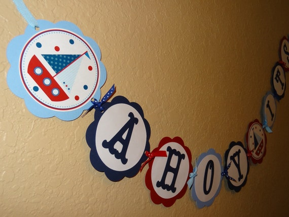 Ahoy Its a Boy ~ Nautical Baby Shower Banner