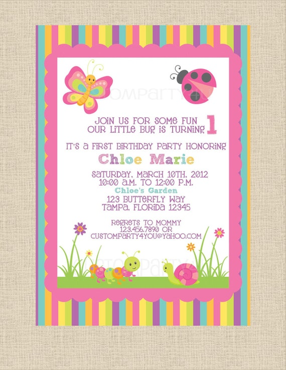 Butterfly Garden Birthday Invitation- Perfect for Spring and Summer birthday partys