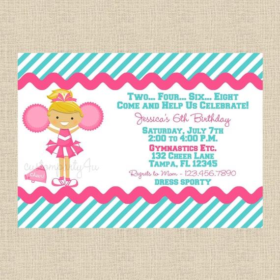 Sweet Little Cheerleader Birthday Invitations Set of 12 – Cheerleading Birthday Party Invitations