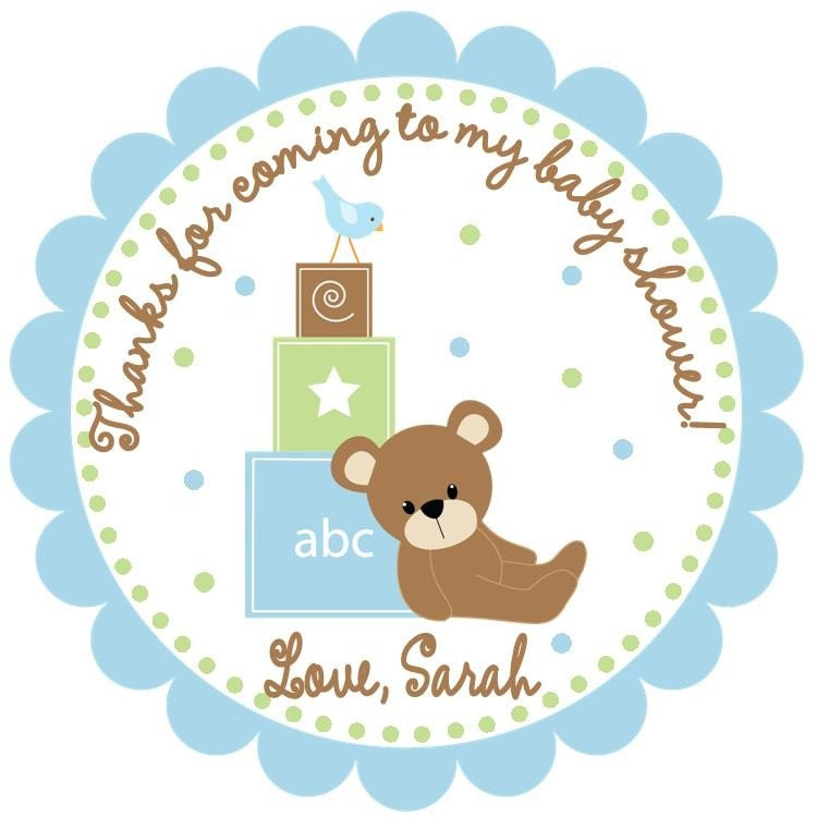 baby bear baby shower favor tags