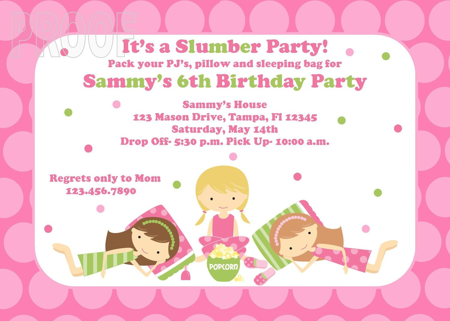 Slumber Party Custom Invitations