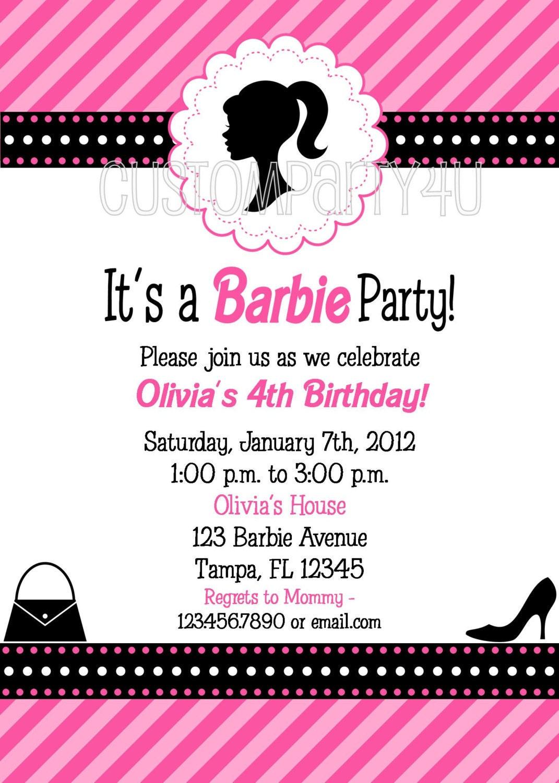 Vintage Silhouette Barbie Doll Birthday Invitation