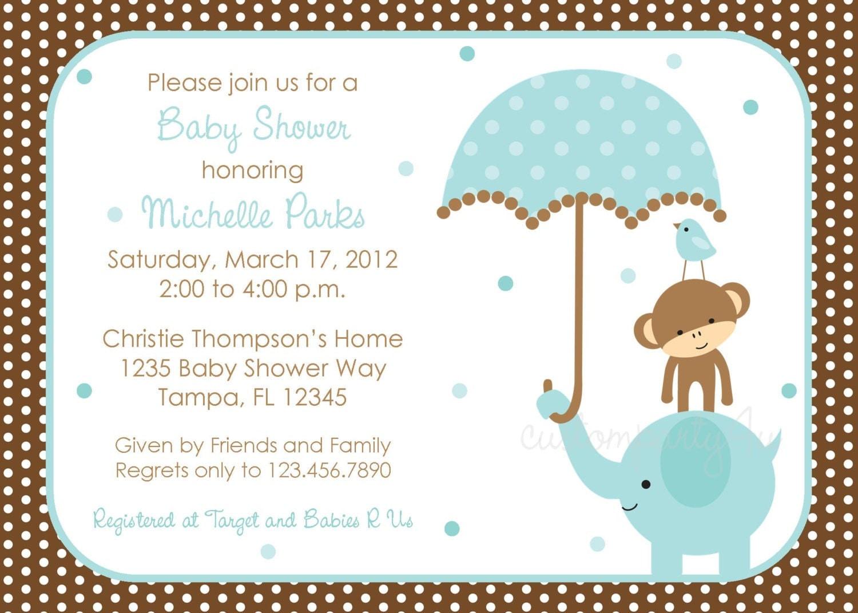 Polka Dot Elephant Baby Shower Invitation Boy by CustomParty4U