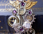 Steampunk Pin or Pendant (C9) - Gothic Cross Design - Gears and Wings - Swarovski Crystals