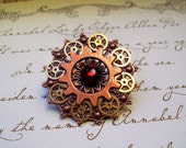 Steampunk Tie Tack or Pin (T24) - Copper Filigree with Brass Gears - Swarovski Crystals