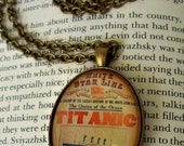 SALE-TITANIC Tribute Necklace (N112) - Titanic Tribute Pendant - Vintage Poster Artwork Under Glass Cabchon - Brass Chain