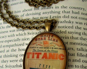 TITANIC Tribute Necklace (N112) - Titanic Tribute Pendant - Vintage Poster Artwork Under Glass Cabchon - Brass Chain