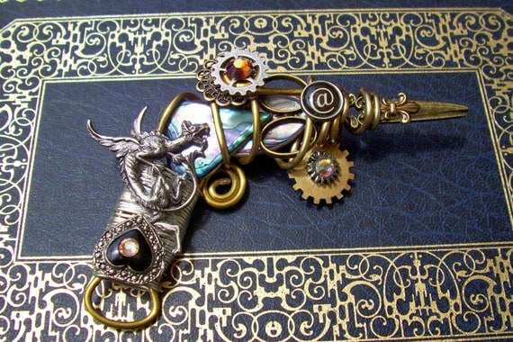 Steampunk Ray Gun Brooch Designed with Vintage and Newly Found Pieces - Retro Futuristic Design