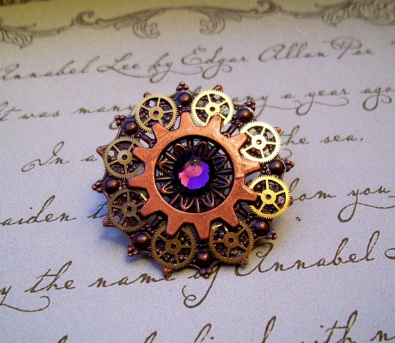 Steampunk Tie Tack or Pin (T25-6) - Copper Filigree with Brass Gears - Swarovski Crystals