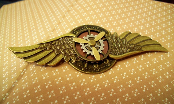 Steampunk Aviator Pin (M20-9) - Medal - Brass Wings and Clockface/Antique Brass - Gear and Brass Propeller are moveable