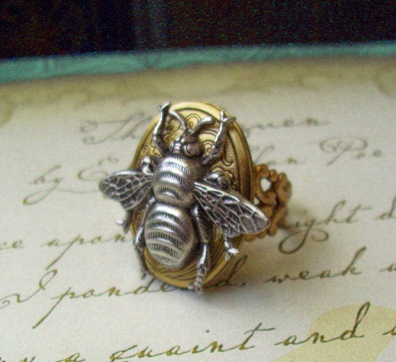 Steampunk Ring (R25-8) - Victorian - Silver Plated Brass Bumble Bee - Working Cameo Locket - Adjustable