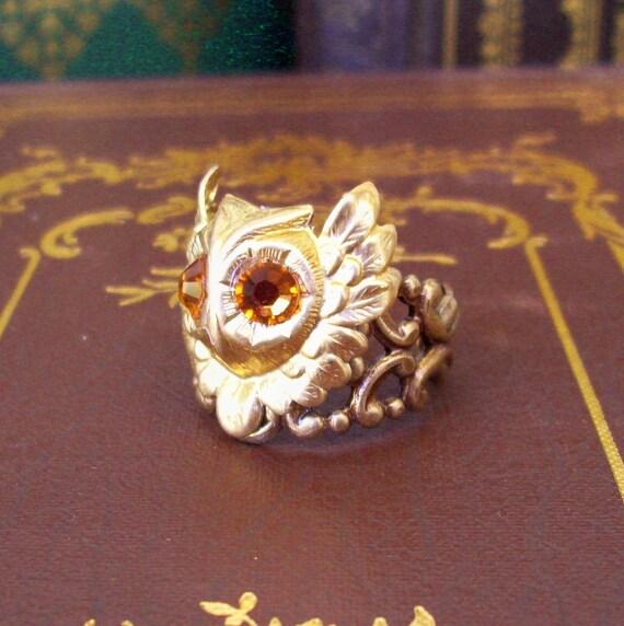 Steampunk Ring (R28-B-2) - Owl - Raw Brass - Swarovski Crystals - Adjustable