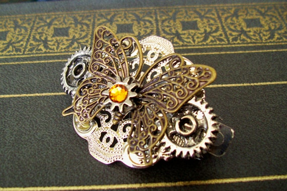 Steampunk Hair Clip (HC2-4) - Small Barrette - Butterfly and Gears - Swarovski Crystal