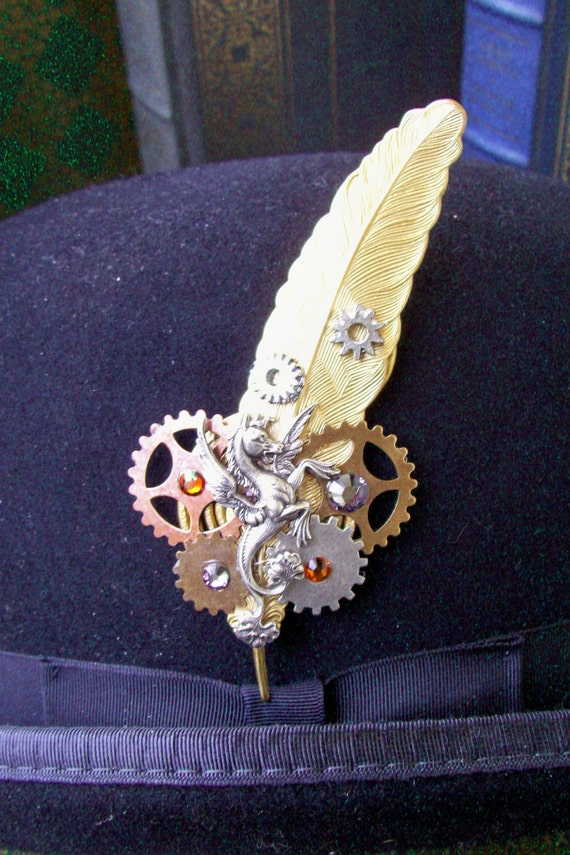 Steampunk Hat Pin or Brooch (HA22) - Gold Plated Brass Feather - Silver Sea Horse - Gears - Swarovski Crystals- Sale Price