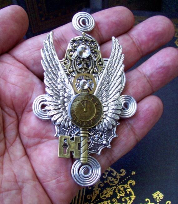 Steampunk Pin (M35) - Aviator Brooch / Medal Design - Wings and Antique Key - Brass Gear - Swarovski Crystal