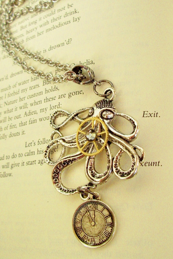 Steampunk Necklace (N79-2) - Kraken Octopus Design - Gears and Clock Face Pendant- Swarovski Crystal - Silver Plated