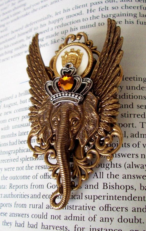 Steampunk Pin (M44) - Brooch - Royal Order of Ganesha Medal - Vintage Stamped Brass Pieces - Swarovski Crystals