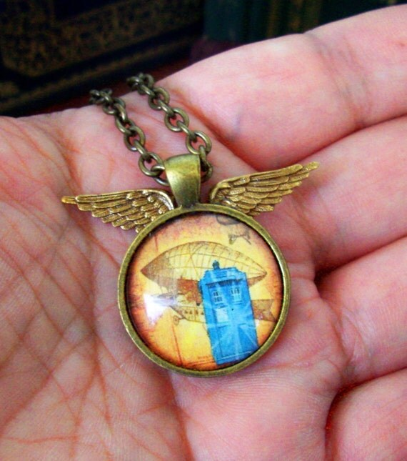 Steampunk Necklace (N105) - TARDIS under Glass Cabochon Winged Pendant with Chain