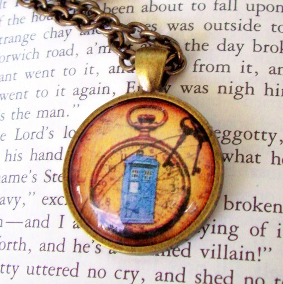 Steampunk Necklace (N103-14) - TARDIS under Glass Cabochon Pendant with Chain
