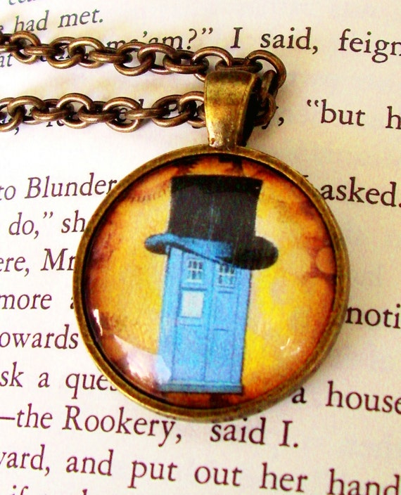 Steampunk Necklace (N102-2) - TARDIS under Glass Cabochon Pendant with Chain