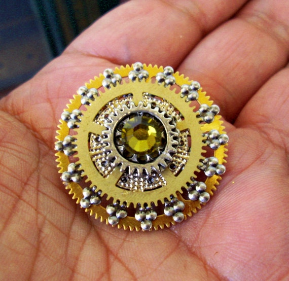 Steampunk Tie Tack or Pin (T45) - Silver Filigree with Large Brass Gears - Swarovski Crystals - Fathers Day