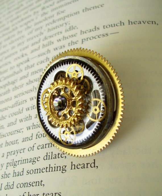 Steampunk Tie Tack or Pin (T46) - Brass Vintage Gears Set In Resin - Swarovski Crystal - Silver Plated Tie Tack - Fathers Day