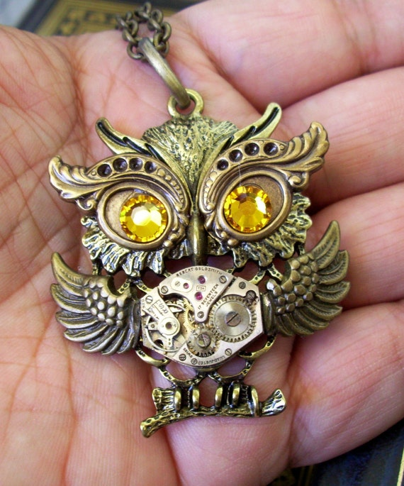 Steampunk Necklace (N129) - Owl Pendant - Dame Edna Owlette - Clock Movement Piece and Swarovski Crystal - Brass Chain