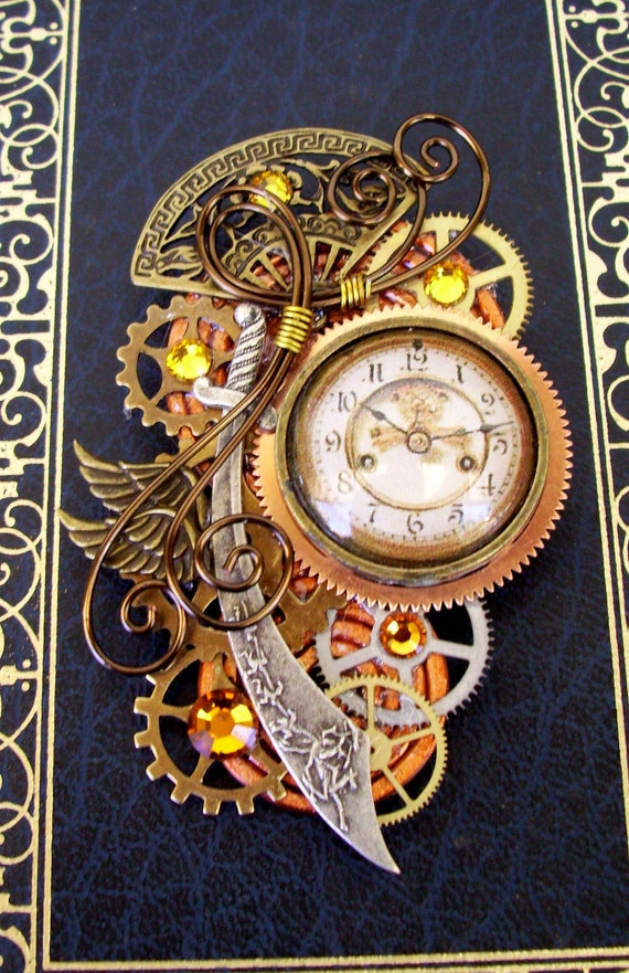 Steampunk Pin or Pendant (P115) - Brooch - Persian/Oriental Design - Sword - Time Travel
