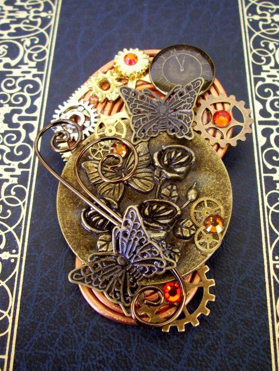 RESERVED for Kris204 - Steampunk Brooch (Pin118) - Butterfly Design - Clockface - Swirls and Gears - Swarovski Crystals