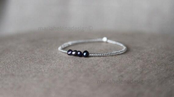 silver n pearl unisex bracelet - small bead bracelet silver glass cultured pearls - small bracelet silver bead glass beads cultured pearl