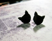 BLACK CAT STUDS - Black Laser Cut Earrings