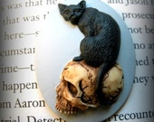 Large Cat on Skull Cameo---Custom choices for my jewelry only 30 x 40