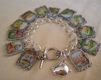 The Three Little Pigs 13 Charm Altered Art Bracelet