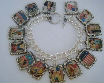 Charm Bracelet Vintage Patriotic July 4th Altered Art