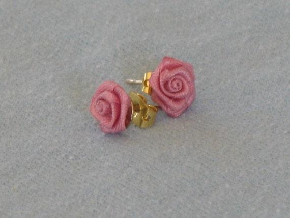 Fabric Roses  Earrings