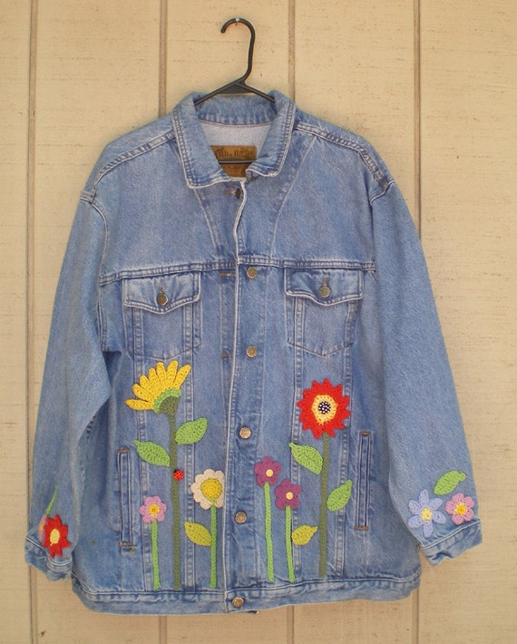 Vintage OOAK Crochet and Button Embellished Denim Plus Size Jacket - Free Shipping Continental USA