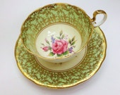 Vintage Green Aynsley China Teacup and Saucer