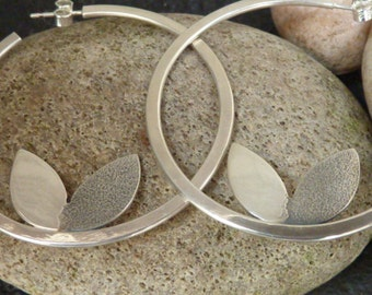 Contemporary Silver Hooped Earrings.