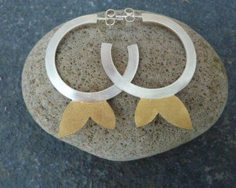 Contemporary Silver Hooped Earrngs with 24 ct. Gold leaf.