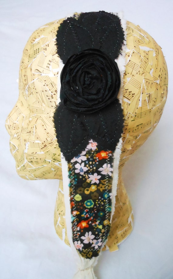 Reserved for Letitia-Black Spiral Rose Head Wrap with Multi colored floral base