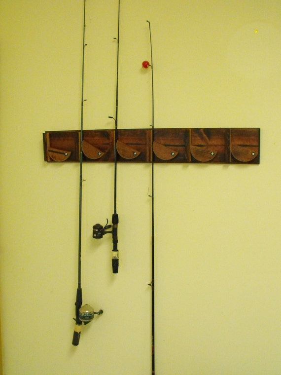 Fishing pole holder wall mounted by septemberroseds on etsy for Wall mount fishing pole holder